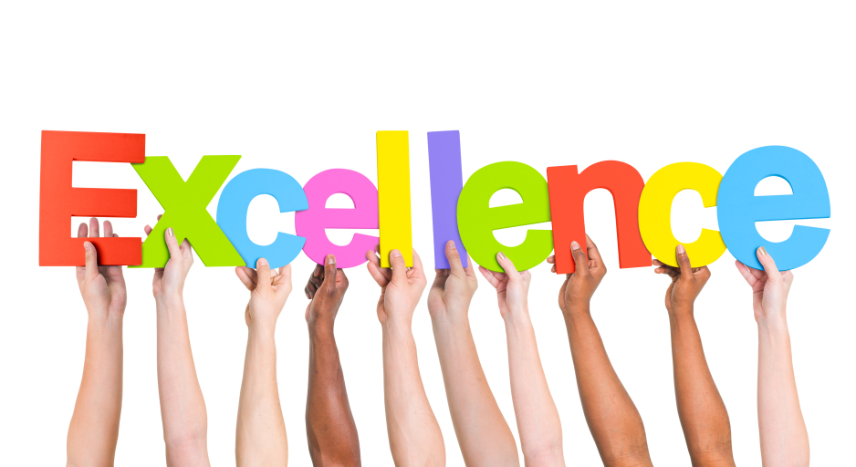 """Image of hands holding up letters of """"Excellence"""""""