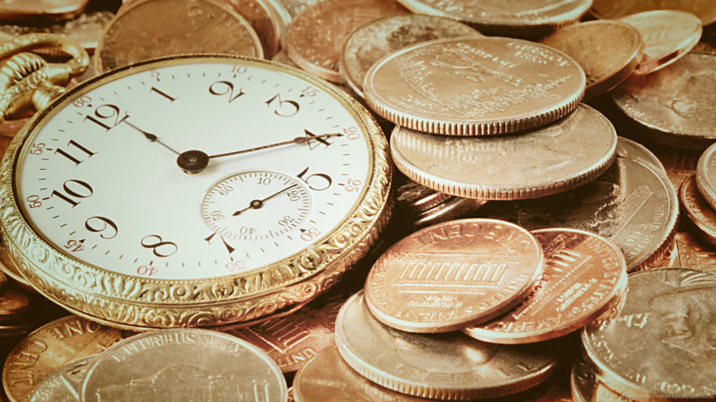 Image of a watch and coins