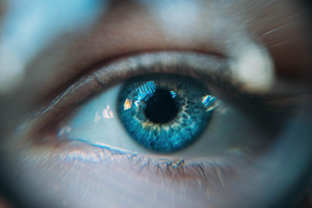 Close up image of a blue eye