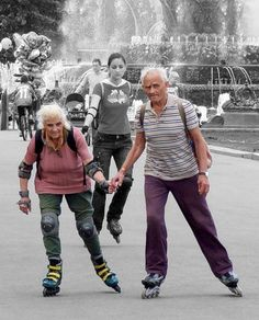 Image of seniors rollerblading