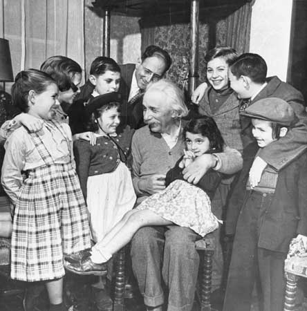 image of Einstein with children