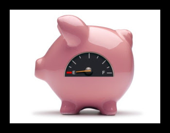image of a piggy bank with a gas meter on it