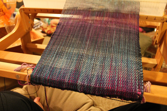 Image of tapestry on a loom