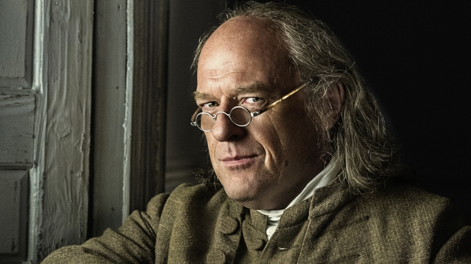 Image of Dean Norris portraying Benjamin Franklin