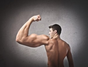 Image of man with exaggerated muscles