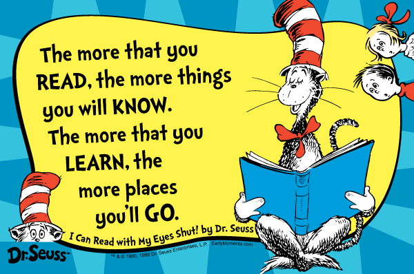 Image of The Cat in the Hat reading today's quote