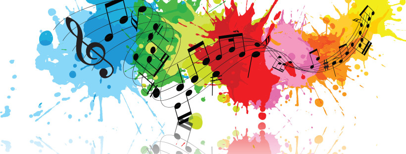 Image of musical notation against splashes of color