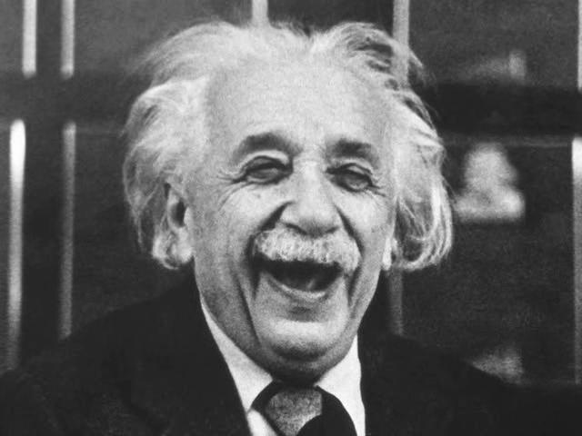 Image of Albert Einstein laughing