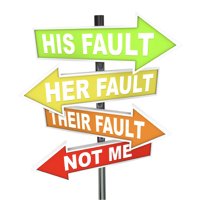 Image of road signs of blame