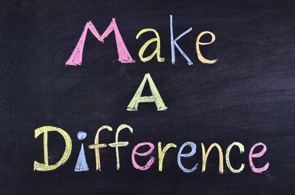 "word ""make a difference"" handwritten on blackboard"