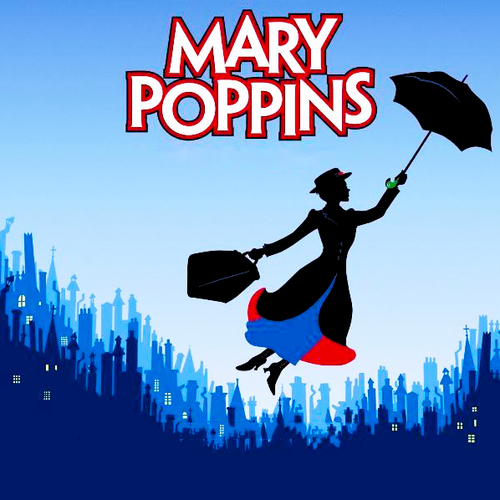 Image of Mary Poppins flying over the city