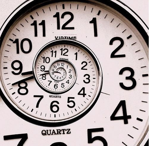 Image of a swirling clock