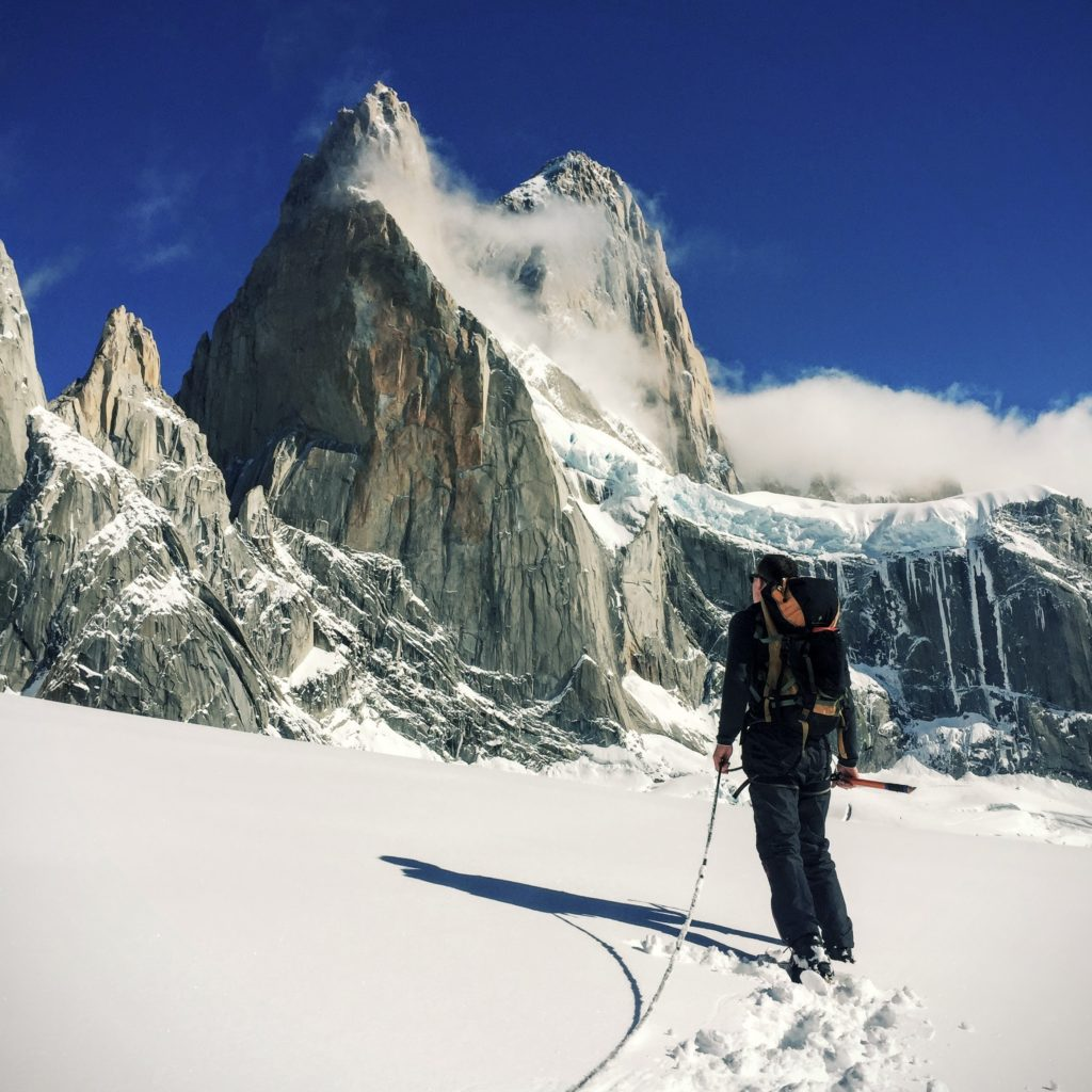 Image of climber facing a mountain