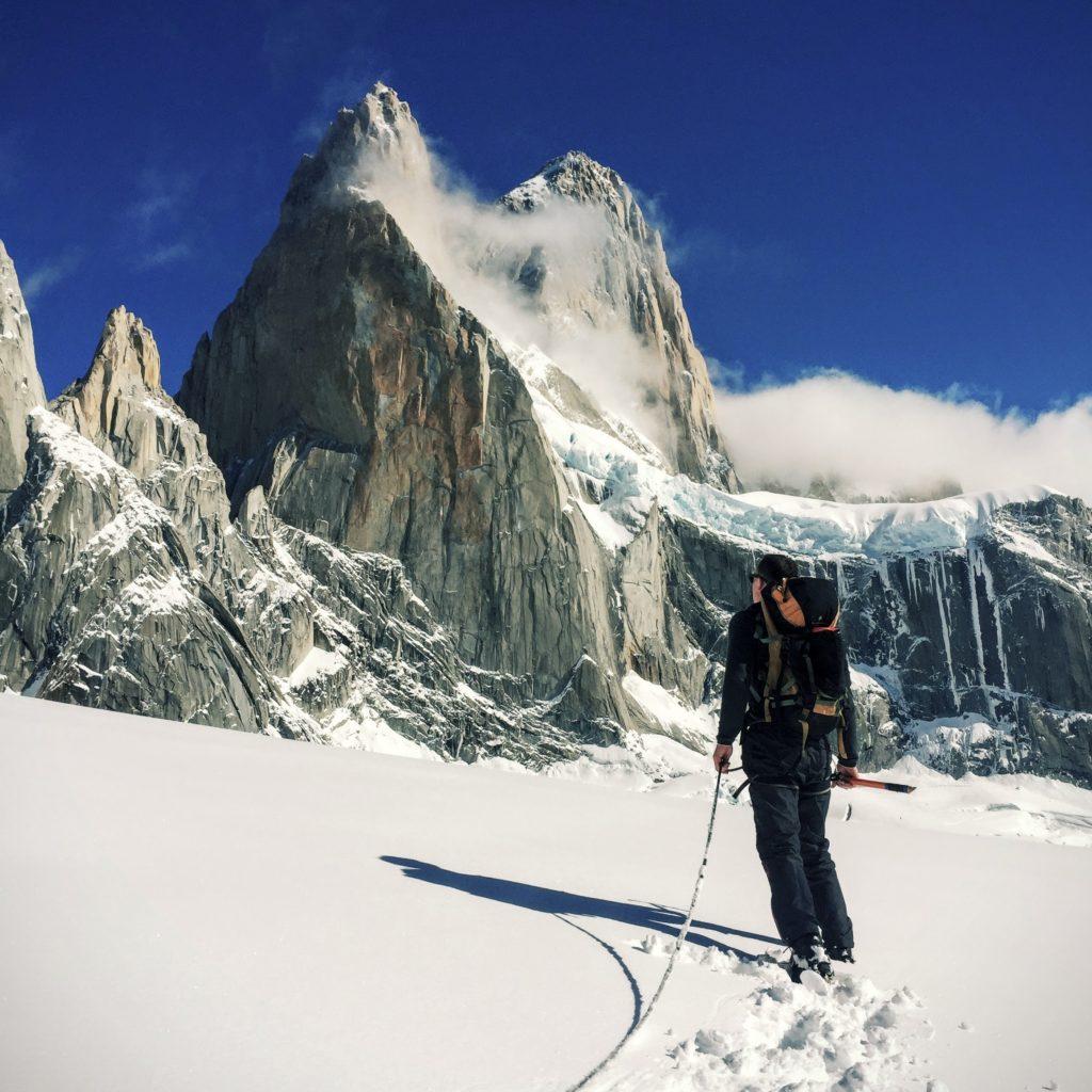 Image of climber facing a mountain