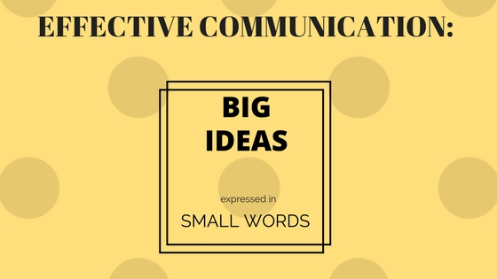 "Image saying ""Effective Communication = big ideas expressed in small words"""