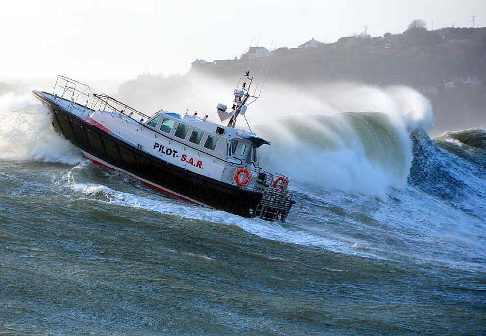 Image of a boat in rough waters