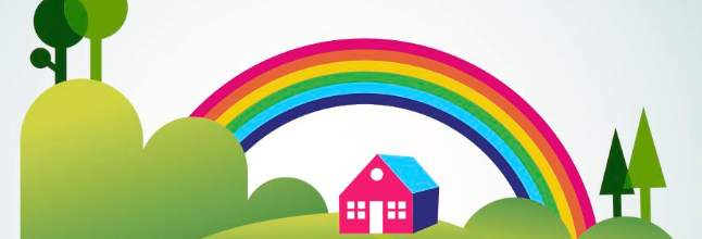Image of a house under a rainbow