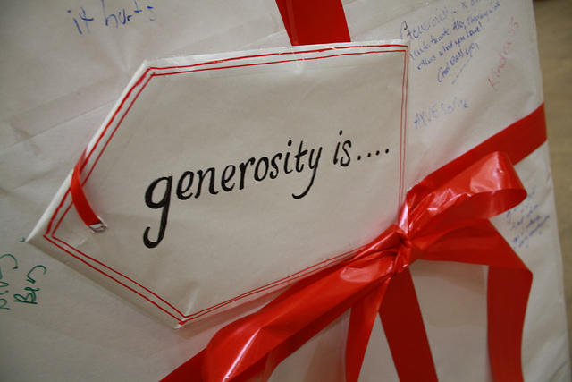"""Image of a gift tag saying """"generosity is..."""""""