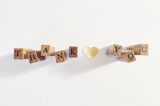 """Thank You"" spelled out in wooden blocks"