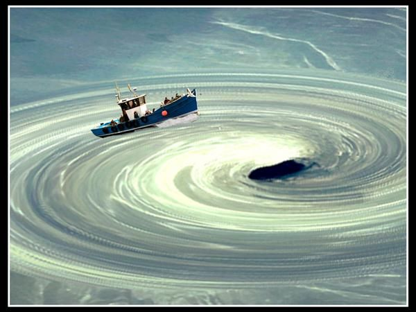 Image of a boat being sucked into a whilrpool