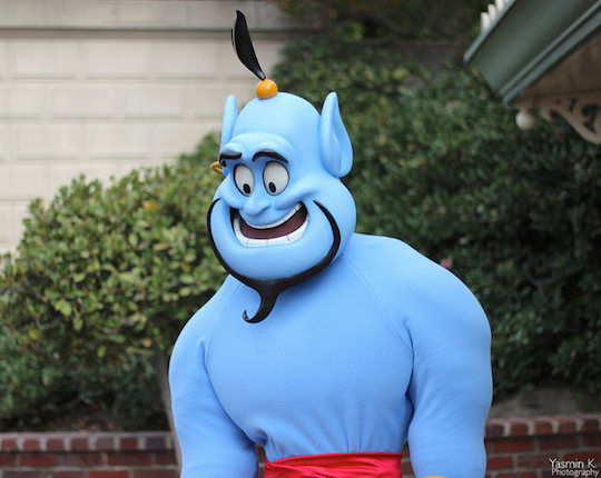 Image of person in blue genie costume