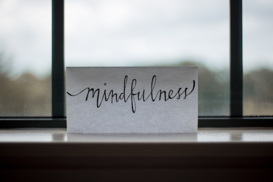 "Image of a card stating ""Mindfulness"""