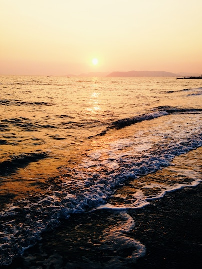 Image of sunset and waves on a beach