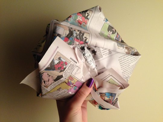 Image of a gift wrapped in the comic strips
