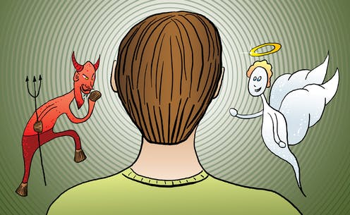 Cartoon of a man with devil/angel on his shoulders