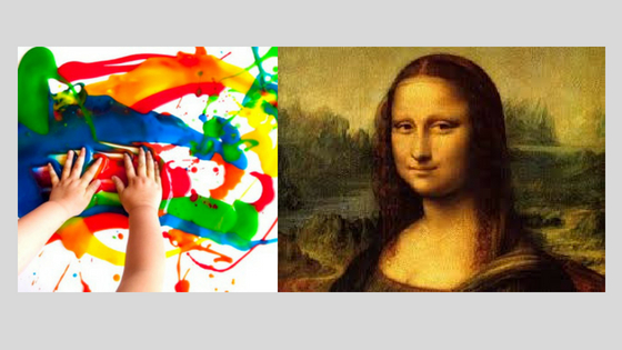 Image of a child's finger painting next to The Mona Lisa