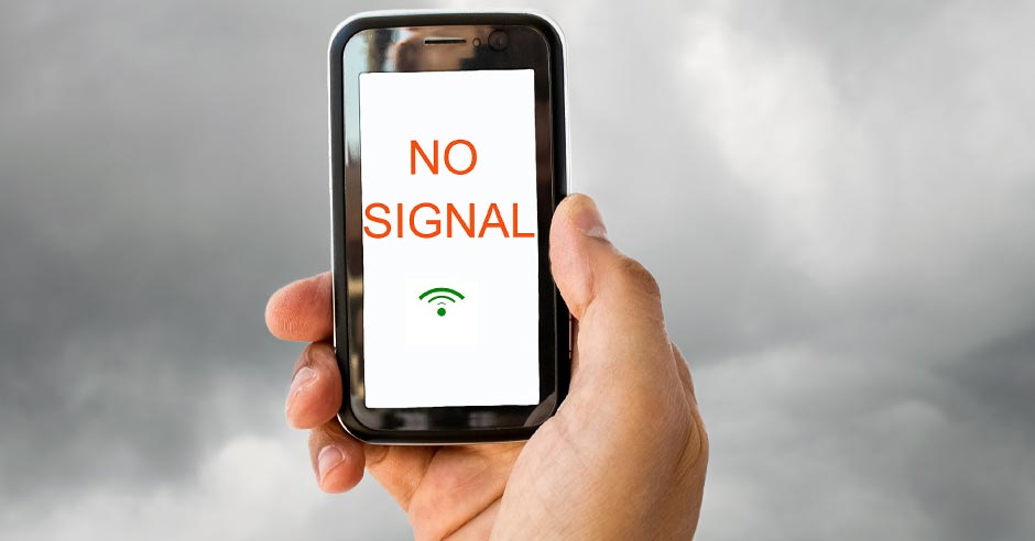 Image of a smart phone showing no signal