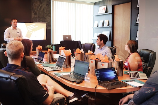 Image of a team in a meeting